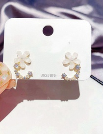 Fashion Real Gold Plated Flower Micro-inlaid Zircon Rice Beads And Glass Earrings