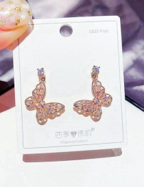 Fashion Rose Gold Plated Butterfly Micro Inlaid Zircon Hollow Earrings
