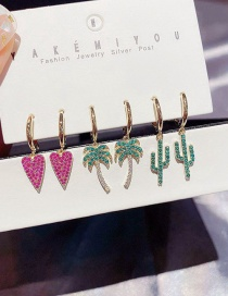 Fashion Real Gold Plated Micro-inlaid Zircon Love Coconut Cactus Earrings Set