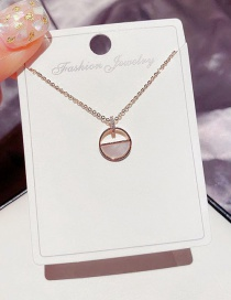 Fashion Rose Gold Plated Natural Shell Semicircle Hollow Pendant Necklace