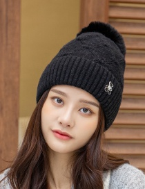 Fashion Black Solid Color Pattern Bear Rivet Knitted Hat