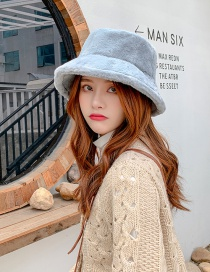 Fashion Blue Pure Color Plush Thickened Light Board Fisherman Hat