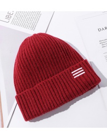 Fashion Red Pure Color Curled Embroidered Woolen Knit Hat
