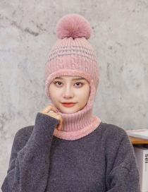 Fashion Pink Hair Ball Plus Velvet Ear Protection And Face Protection Knitted Hat