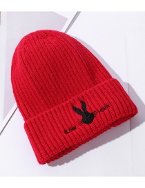 Fashion Red Wool Rabbit Embroidered Solid Color Knitted Hat