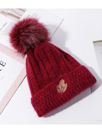 Fashion Wine Red Rabbit Fur Double Layer Plus Fluff Ball Maple Leaf Embroidery Knitted Hat