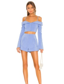 Fashion Blue Single-breasted Panelled Solid Color Pleated Shorts