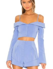 Fashion Blue Single-breasted Short Top With Sling Neckline