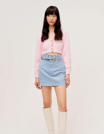 Fashion Pink Mohair Single-breasted Solid Knit Cardigan