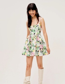 Fashion Color Mixing Butterfly Flower Print Strap Dress
