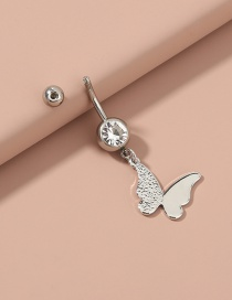 Fashion Silver Color Color Zircon Butterfly Stainless Steel Belly Button Nail