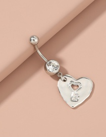 Fashion White Love Hollow Pendant Stainless Steel Belly Button Nail