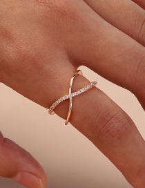 Fashion Gold Color Diamond Cross Cutout Alloy Open Ring