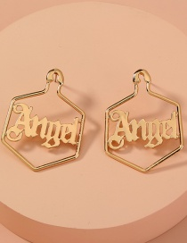 Fashion Gold Color Letter Alloy Geometric Stud Earrings