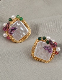 Fashion Gold Color Square Pearl Butterfly Resin Alloy Earrings