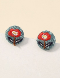 Fashion Flowers Fabric Round Flower Embroidery Earrings