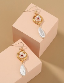 Fashion Gold Color Pearl Flower Drop-shaped Alloy Earrings