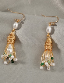 Fashion Gold Color Handmade Pearl Flower Winding Wire Alloy Earrings