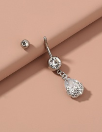 Fashion Silver Color Color Stainless Steel Water Drop Zircon Flower Belly Button Nail