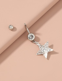 Fashion Silver Color Color Five-pointed Star Diamond Hollow Stainless Steel Belly Button Nail