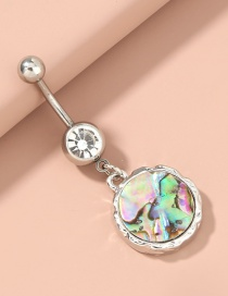 Fashion Silver Color Color Abalone Shell Round Diamond Alloy Belly Button Nail