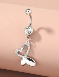 Fashion Silver Color Color Diamond-studded Butterfly Stainless Steel Belly Button Nail