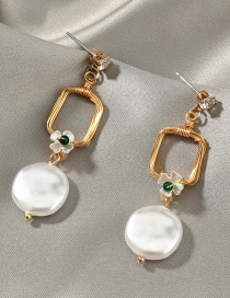 Fashion Square Geometric Pearl Stitching And Diamond Alloy Earrings