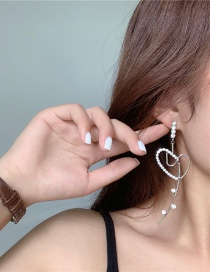 Fashion Silver Color Color Love Heart Diamond Wire Rope Alloy Earrings