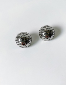 Fashion Silver Color Color Letter Three-dimensional Ball Alloy Earrings