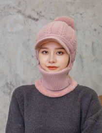 Fashion Pink Plush Thick Twist Knitted Mask Bib All-in-one Woolen Hat