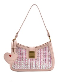 Fashion Pink Sequined Lock Stitching Shoulder Crossbody Bag