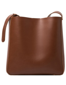 Fashion Brown Large-capacity Stitching Solid Color One-shoulder Messenger Bag