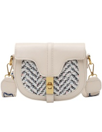 Fashion Creamy-white Woven Material Stitching Lock One Shoulder Messenger Bag