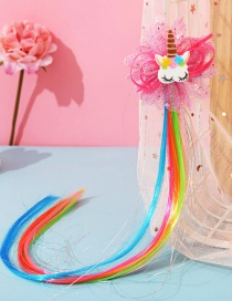 Fashion Unicorn Flowers Butterfly Animal Contrast Color Childrens Wig Braids
