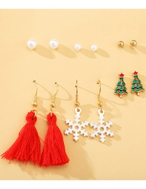 Fashion Color Mixing Pearl Tassel Snowflake Oil Dripping Alloy Earring Set