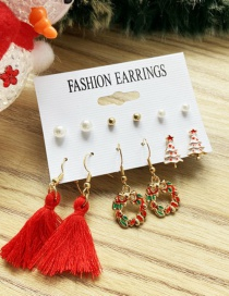 Fashion Color Mixing Pearl Tassel Dripping Oil Alloy Earring Set
