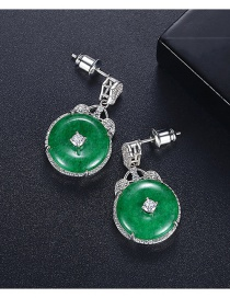Fashion Platinum Green Chalcedony And Diamond Round Earrings