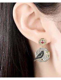 Fashion Golden Color Copper Inlaid Zircon Geometric Magpie Earrings