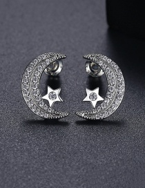 Fashion Platinum Moon Five-pointed Star Copper And Zircon Earrings