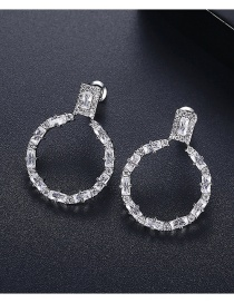 Fashion Platinum Copper Inlaid Zircon Round Hollow Earrings