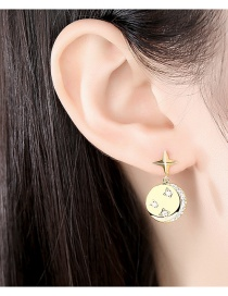 Fashion Golden Color Copper And Zircon Round Gold-plated Earrings