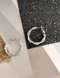 Fashion Silver Color Metal Twisted Circle Alloy Earrings