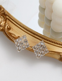 Fashion Golden Color Diamond-studded Square Alloy Earrings