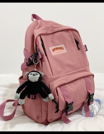 Fashion Pink Send Pendant Large Capacity Backpack In Nylon Cloth With Buckle And Letter Mark
