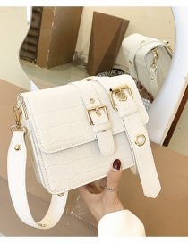 Fashion Beige Stone Pattern Belt Buckle Shoulder Messenger Bag