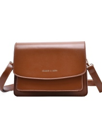 Fashion Brown Flap Shoulder Crossbody Bag With Stamped Letters