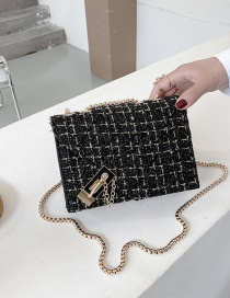 Fashion Black Woolen Lock Chain Shoulder Messenger Bag
