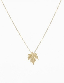 Fashion Golden Color Stainless Steel Diamond Maple Leaf Necklace