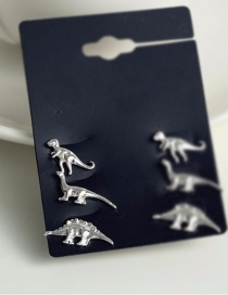 Fashion Silver Color-(3 Pairs) Small Animal Dinosaur Alloy Earring Set