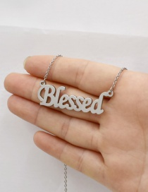 Fashion Steel Color Letter Stainless Steel Hollow Necklace